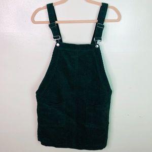 Forever 21 Green Corduroy Overall Mini Dress Med